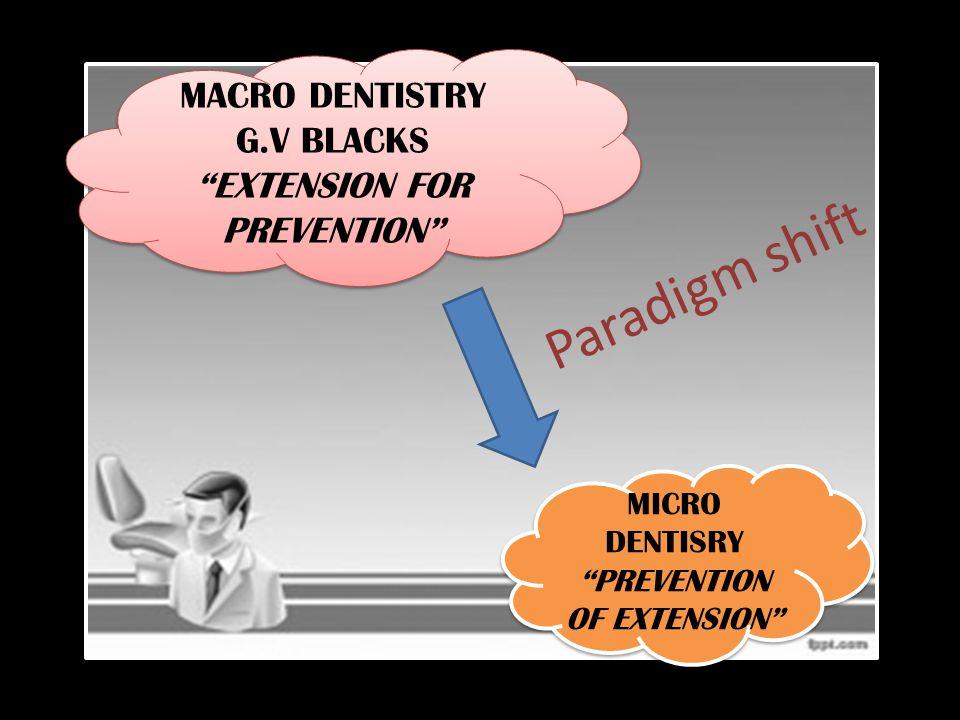 "Paradigm shift MACRO DENTISTRY G.V BLACKS ""EXTENSION FOR PREVENTION"" MACRO DENTISTRY G.V BLACKS ""EXTENSION FOR PREVENTION"" MICRO DENTISRY ""PREVENTION"