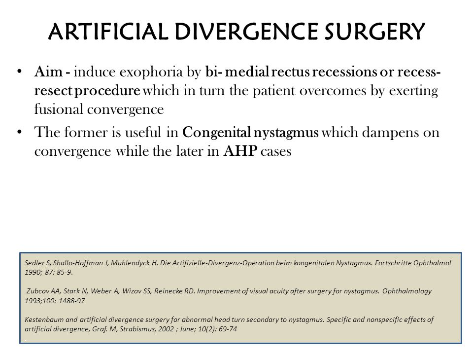 ARTIFICIAL DIVERGENCE SURGERY Aim - induce exophoria by bi- medial rectus recessions or recess- resect procedure which in turn the patient overcomes b
