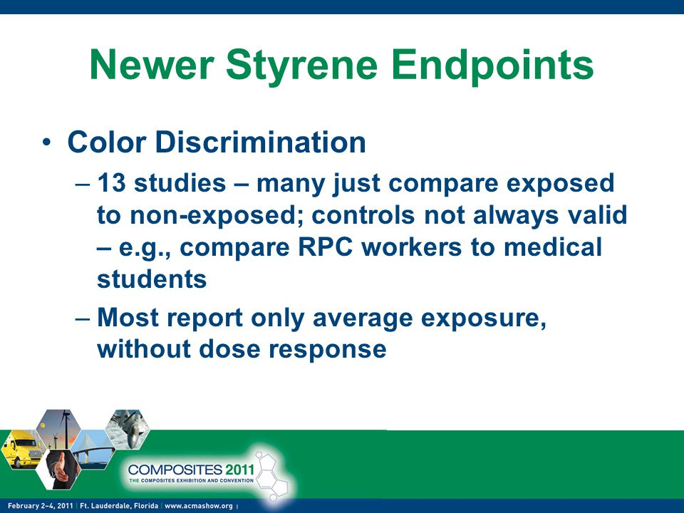 Newer Styrene Endpoints Color Discrimination –13 studies – many just compare exposed to non-exposed; controls not always valid – e.g., compare RPC workers to medical students –Most report only average exposure, without dose response