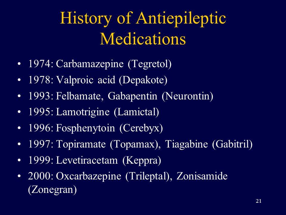 History of Antiepileptic Medications 1974: Carbamazepine (Tegretol) 1978: Valproic acid (Depakote) 1993: Felbamate, Gabapentin (Neurontin) 1995: Lamot