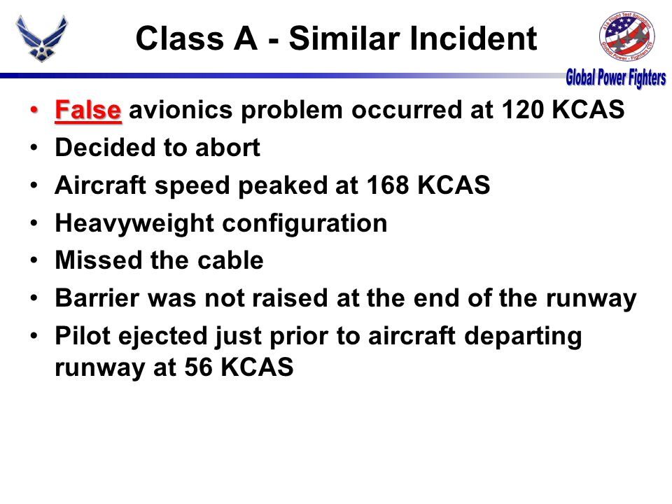 Class A - Similar Incident FalseFalse avionics problem occurred at 120 KCAS Decided to abort Aircraft speed peaked at 168 KCAS Heavyweight configuration Missed the cable Barrier was not raised at the end of the runway Pilot ejected just prior to aircraft departing runway at 56 KCAS