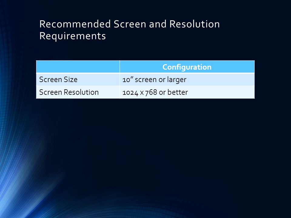 Recommended Screen and Resolution Requirements Configuration Screen Size10 screen or larger Screen Resolution1024 x 768 or better