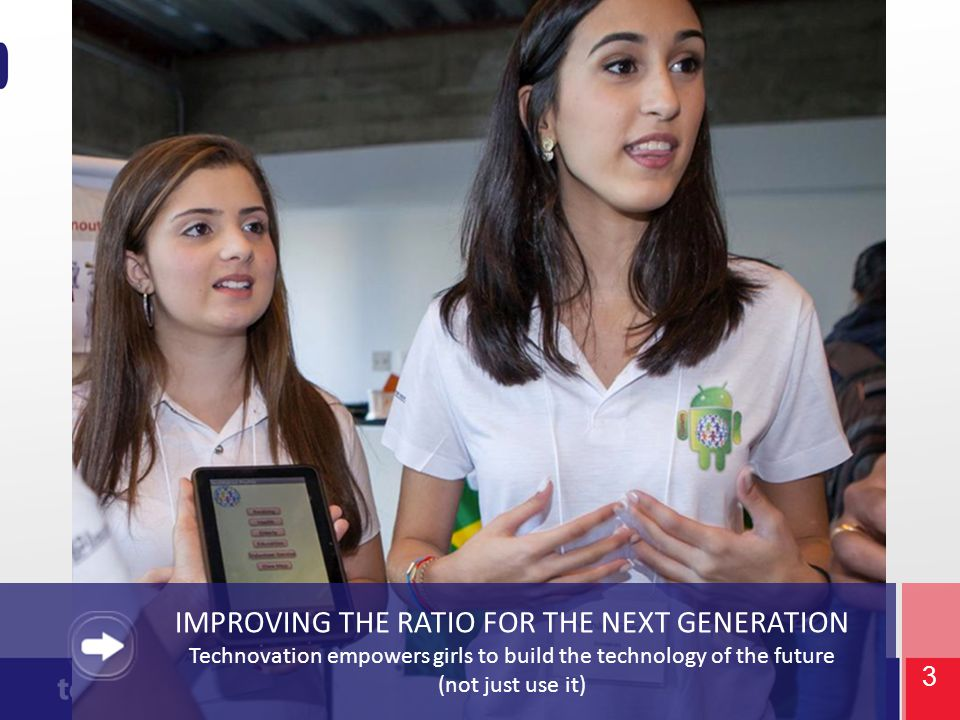 3 IMPROVING THE RATIO FOR THE NEXT GENERATION Technovation empowers girls to build the technology of the future (not just use it)