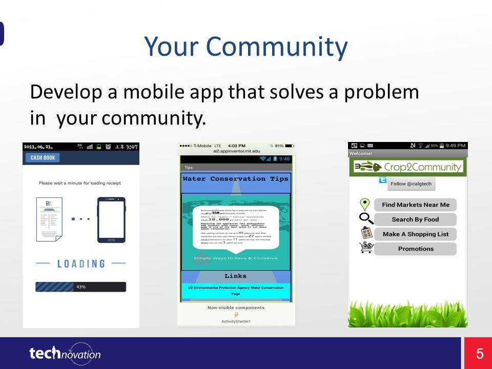 5 Develop a mobile app that solves a problem in your community. Your Community
