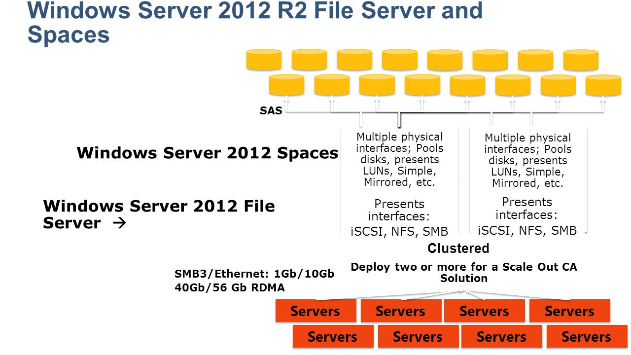 Clustered Windows Server 2012 Spaces  Windows Server 2012 File Server  Multiple physical interfaces; Pools disks, presents LUNs, Simple, Mirrored, e