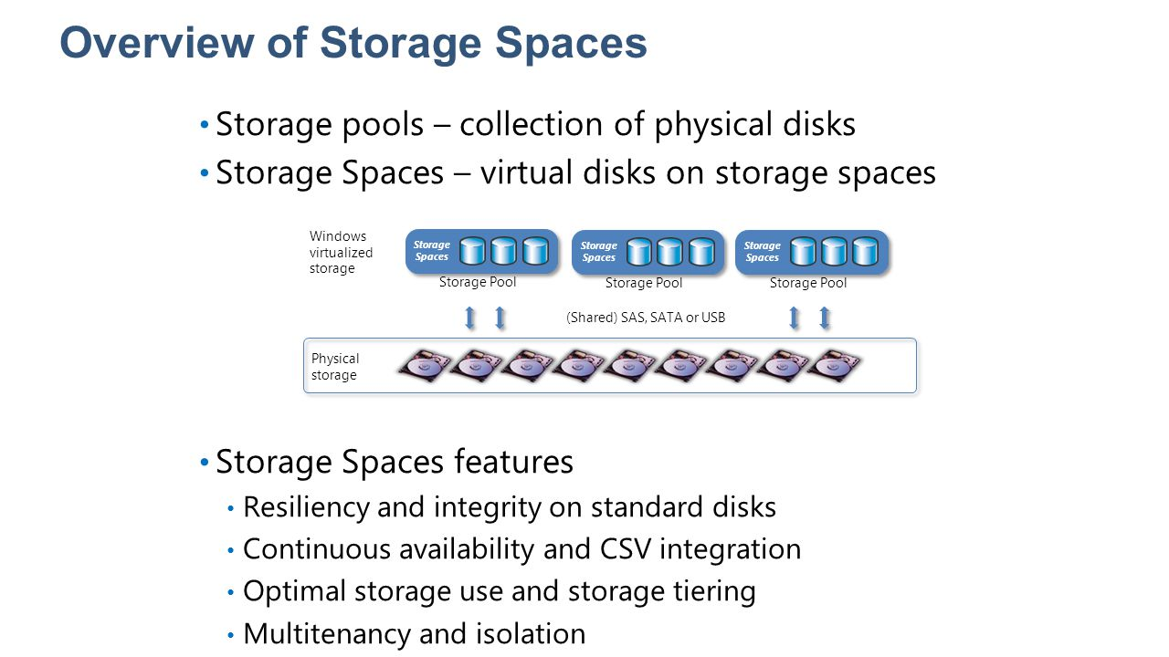 Overview of Storage Spaces Storage pools – collection of physical disks Storage Spaces – virtual disks on storage spaces Storage Spaces features Resil