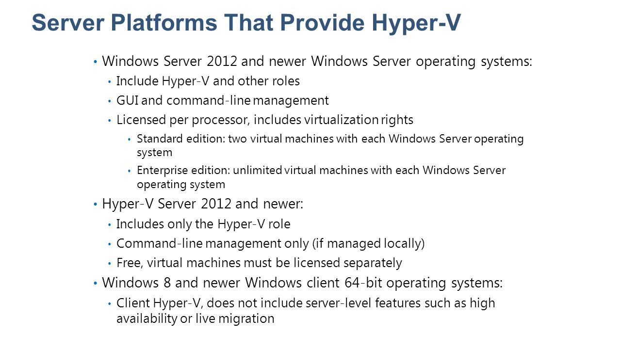 Lesson 4: Hyper-V Host Storage and Networking Overview of Storage Spaces Overview of Disk Deduplication What Is Offloaded Data Transfer.