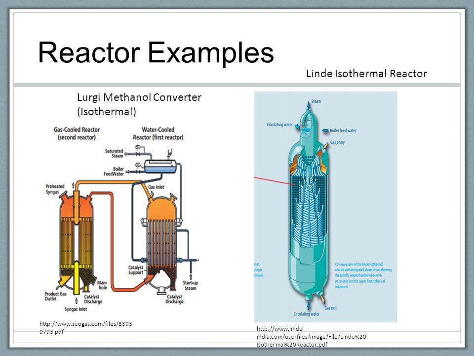 Reactor Examples http://www.zeogas.com/files/8393 9793.pdf Lurgi Methanol Converter (Isothermal) Linde Isothermal Reactor http://www.linde- india.com/