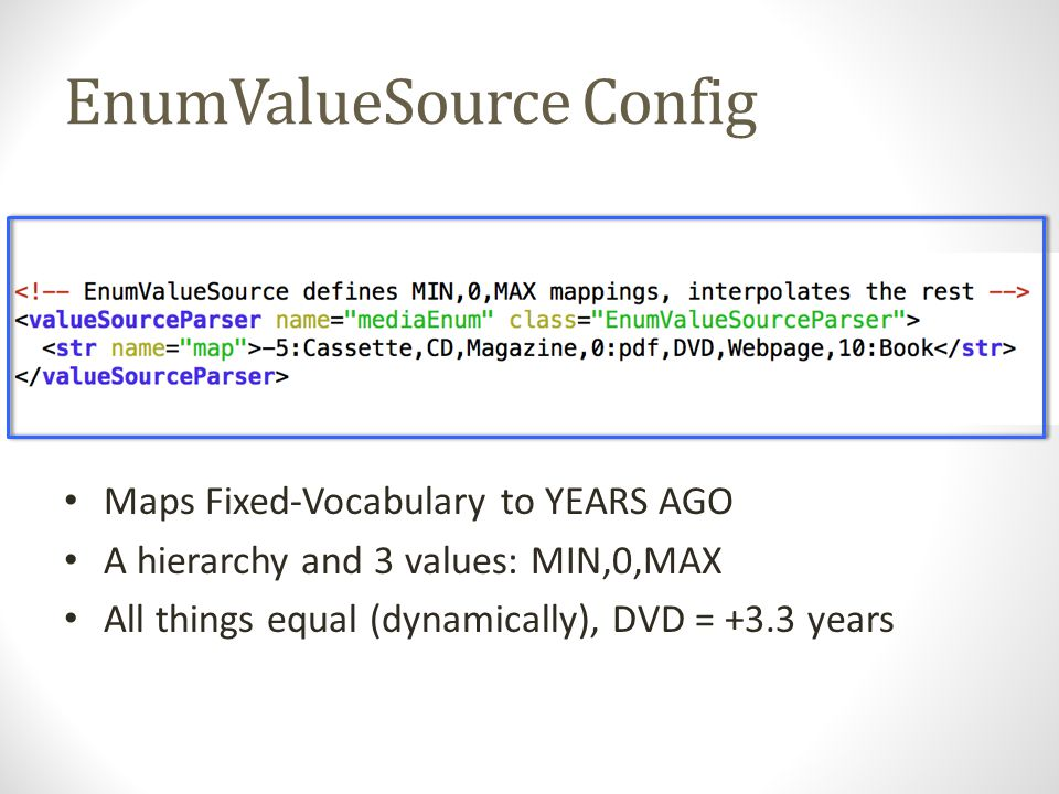 EnumValueSource Config Maps Fixed-Vocabulary to YEARS AGO A hierarchy and 3 values: MIN,0,MAX All things equal (dynamically), DVD = +3.3 years