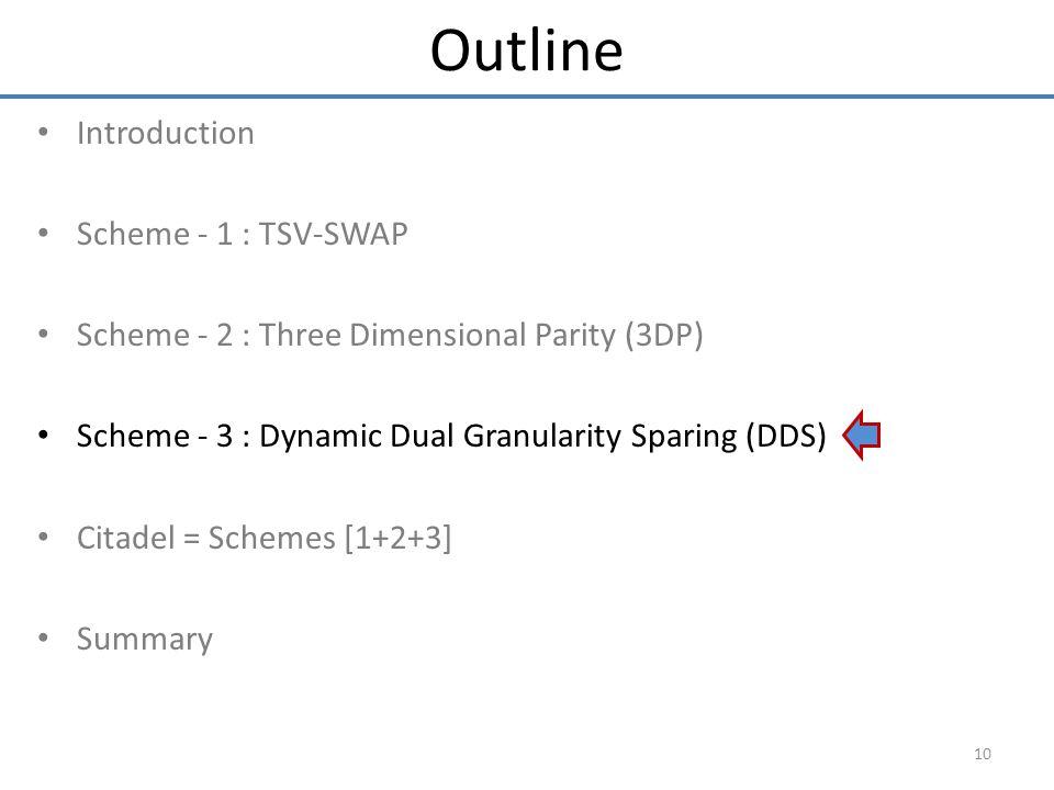 Introduction Scheme - 1 : TSV-SWAP Scheme - 2 : Three Dimensional Parity (3DP) Scheme - 3 : Dynamic Dual Granularity Sparing (DDS) Citadel = Schemes [1+2+3] Summary 10 Outline