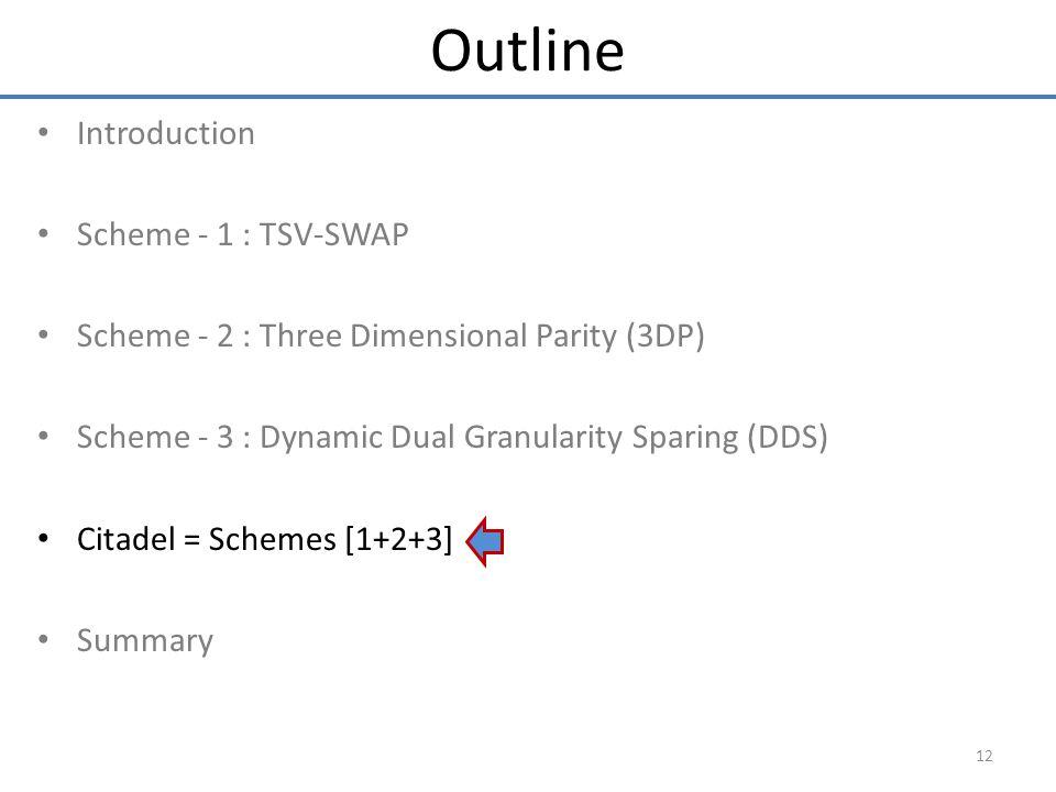 Introduction Scheme - 1 : TSV-SWAP Scheme - 2 : Three Dimensional Parity (3DP) Scheme - 3 : Dynamic Dual Granularity Sparing (DDS) Citadel = Schemes [1+2+3] Summary 12 Outline