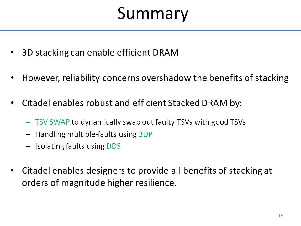 3D stacking can enable efficient DRAM However, reliability concerns overshadow the benefits of stacking Citadel enables robust and efficient Stacked D