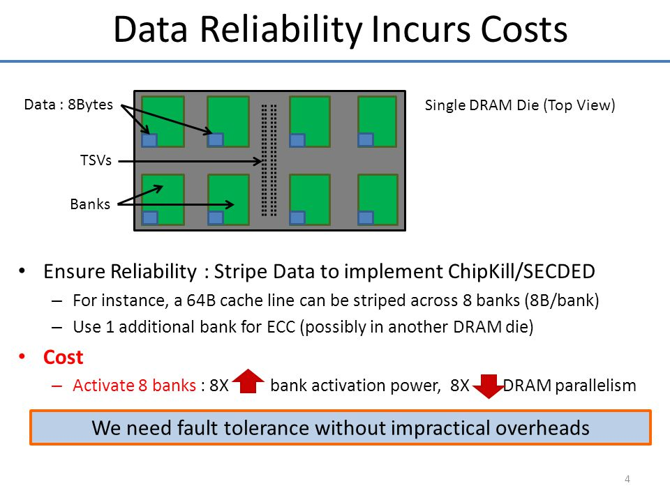 4 Data Reliability Incurs Costs We need fault tolerance without impractical overheads Single DRAM Die (Top View) Banks TSVs Ensure Reliability : Stripe Data to implement ChipKill/SECDED – For instance, a 64B cache line can be striped across 8 banks (8B/bank) – Use 1 additional bank for ECC (possibly in another DRAM die) Cost – Activate 8 banks : 8X bank activation power, 8X DRAM parallelism Data : 8Bytes