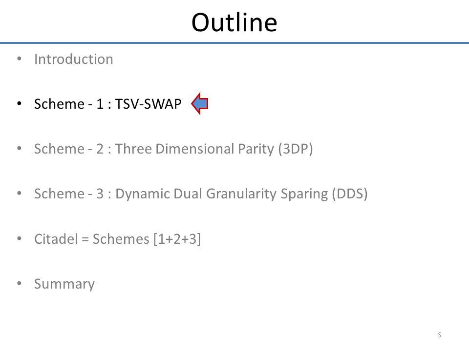 Introduction Scheme - 1 : TSV-SWAP Scheme - 2 : Three Dimensional Parity (3DP) Scheme - 3 : Dynamic Dual Granularity Sparing (DDS) Citadel = Schemes [1+2+3] Summary 6 Outline