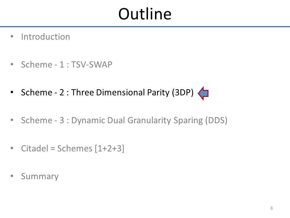 Introduction Scheme - 1 : TSV-SWAP Scheme - 2 : Three Dimensional Parity (3DP) Scheme - 3 : Dynamic Dual Granularity Sparing (DDS) Citadel = Schemes [1+2+3] Summary 8 Outline