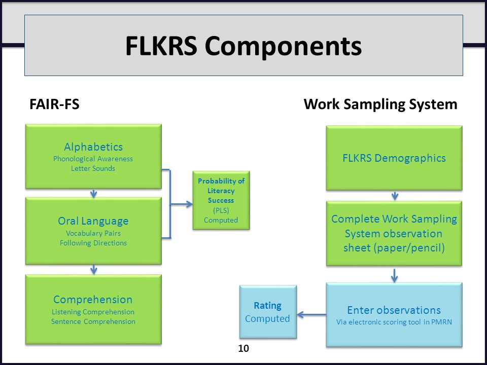 FLKRS Components FAIR-FSWork Sampling System Alphabetics Phonological Awareness Letter Sounds Alphabetics Phonological Awareness Letter Sounds Oral Language Vocabulary Pairs Following Directions Oral Language Vocabulary Pairs Following Directions Comprehension Listening Comprehension Sentence Comprehension Comprehension Listening Comprehension Sentence Comprehension Probability of Literacy Success (PLS) Computed Probability of Literacy Success (PLS) Computed FLKRS Demographics Complete Work Sampling System observation sheet (paper/pencil) Enter observations Via electronic scoring tool in PMRN Enter observations Via electronic scoring tool in PMRN Rating Computed Rating Computed 10