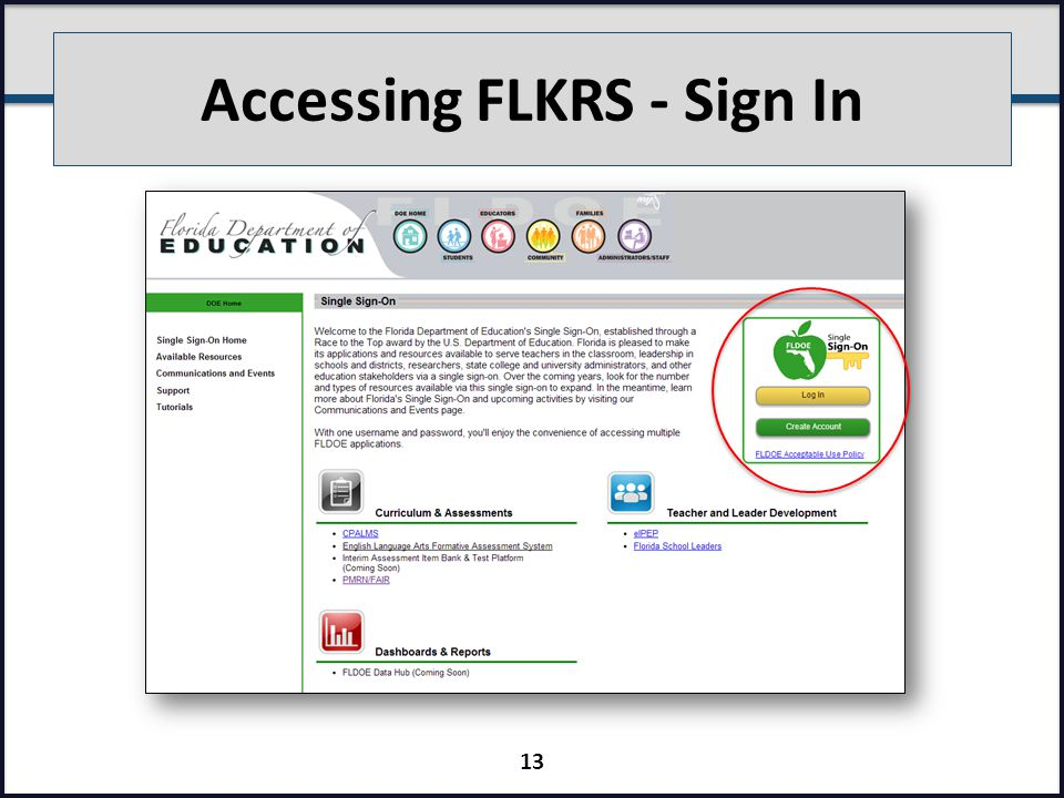 Accessing FLKRS - Sign In 13