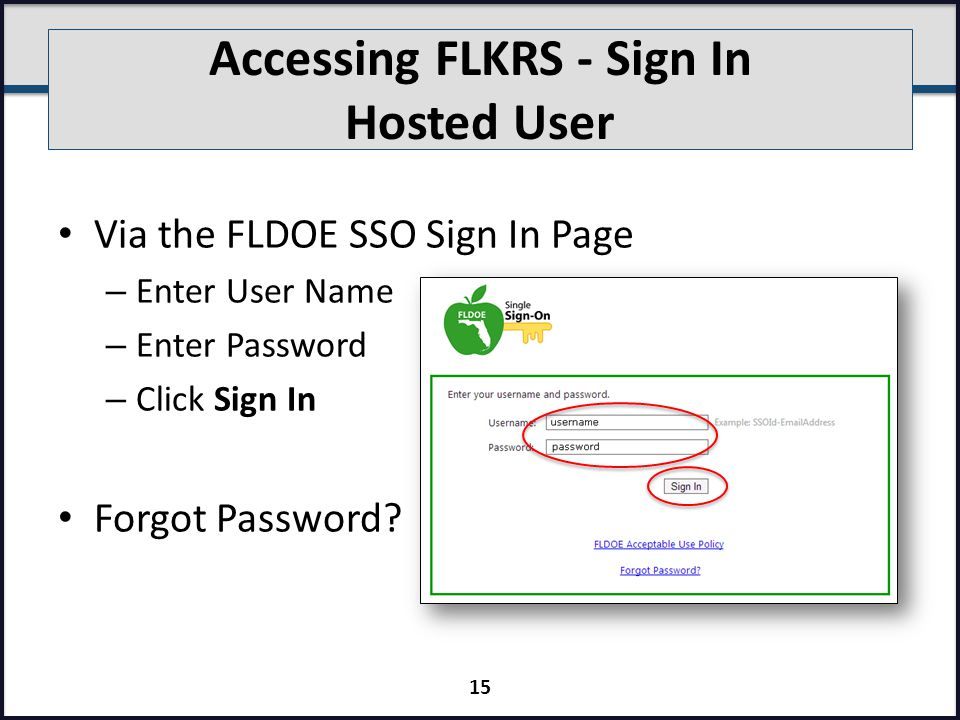 Accessing FLKRS - Sign In Hosted User Via the FLDOE SSO Sign In Page – Enter User Name – Enter Password – Click Sign In Forgot Password.