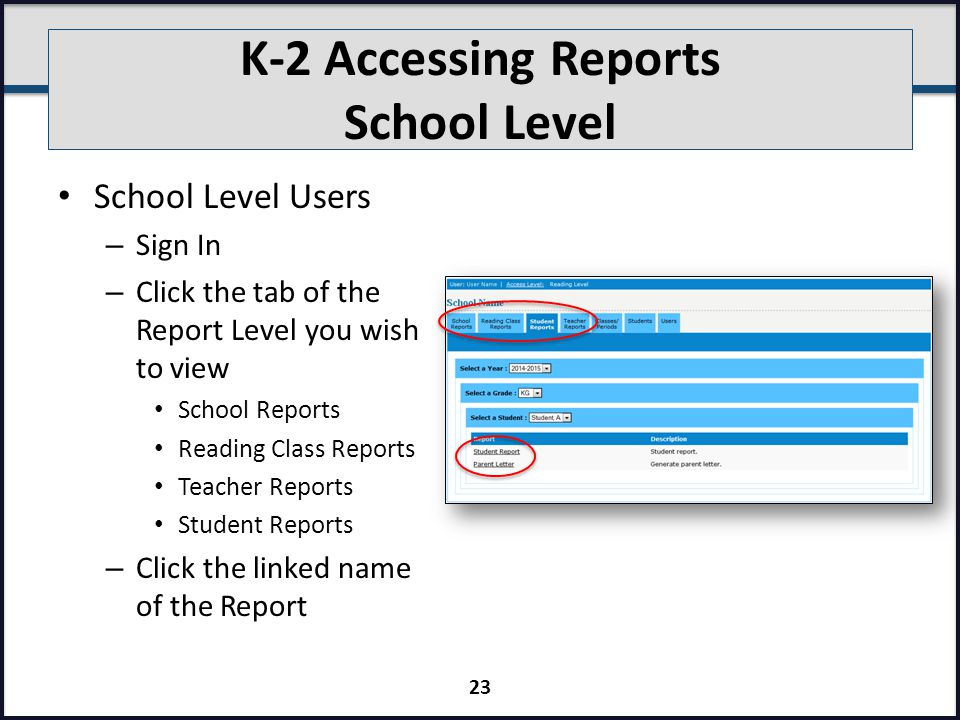 K-2 Accessing Reports School Level School Level Users – Sign In – Click the tab of the Report Level you wish to view School Reports Reading Class Reports Teacher Reports Student Reports – Click the linked name of the Report 23