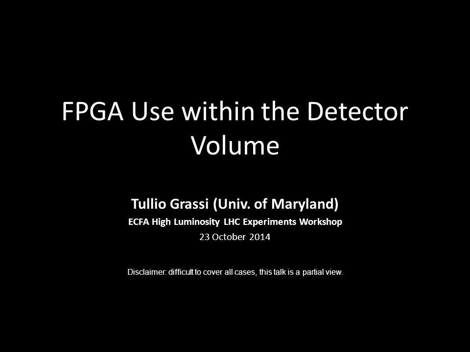 FPGA Use within the Detector Volume Tullio Grassi (Univ.