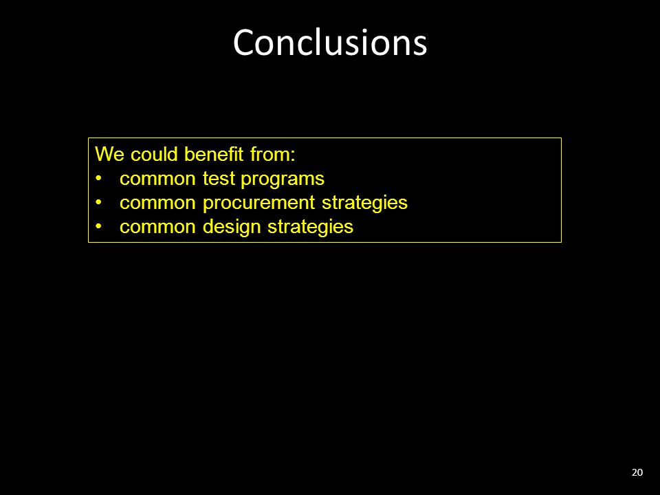 Conclusions 20 We could benefit from: common test programs common procurement strategies common design strategies