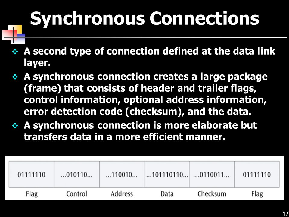 17 Synchronous Connections  A second type of connection defined at the data link layer.  A synchronous connection creates a large package (frame) th