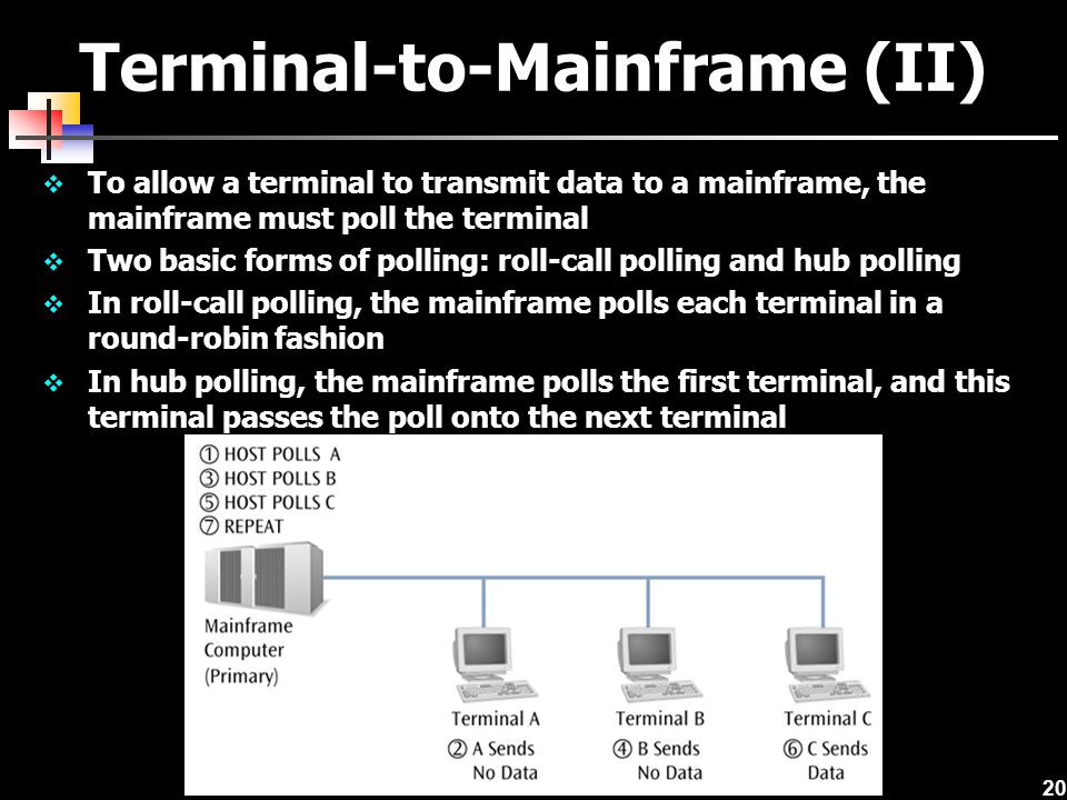 20 Terminal-to-Mainframe (II)  To allow a terminal to transmit data to a mainframe, the mainframe must poll the terminal  Two basic forms of polling: roll-call polling and hub polling  In roll-call polling, the mainframe polls each terminal in a round-robin fashion  In hub polling, the mainframe polls the first terminal, and this terminal passes the poll onto the next terminal