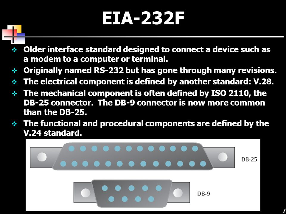 7 EIA-232F  Older interface standard designed to connect a device such as a modem to a computer or terminal.  Originally named RS-232 but has gone t