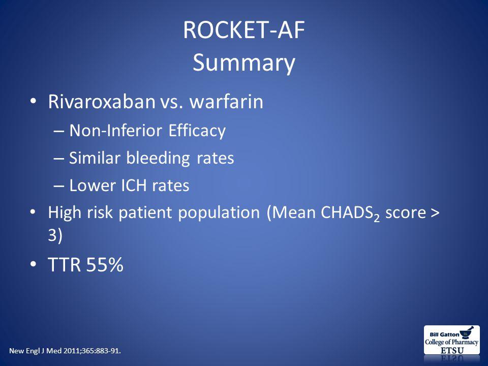 ROCKET-AF Summary Rivaroxaban vs.