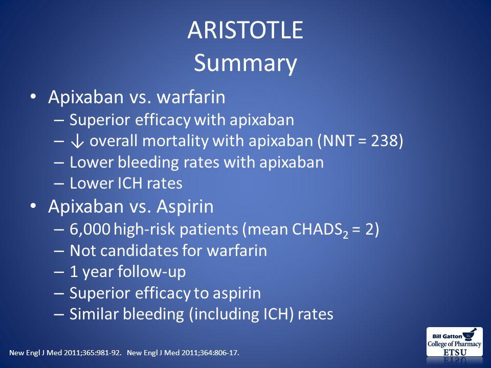 ARISTOTLE Summary Apixaban vs.