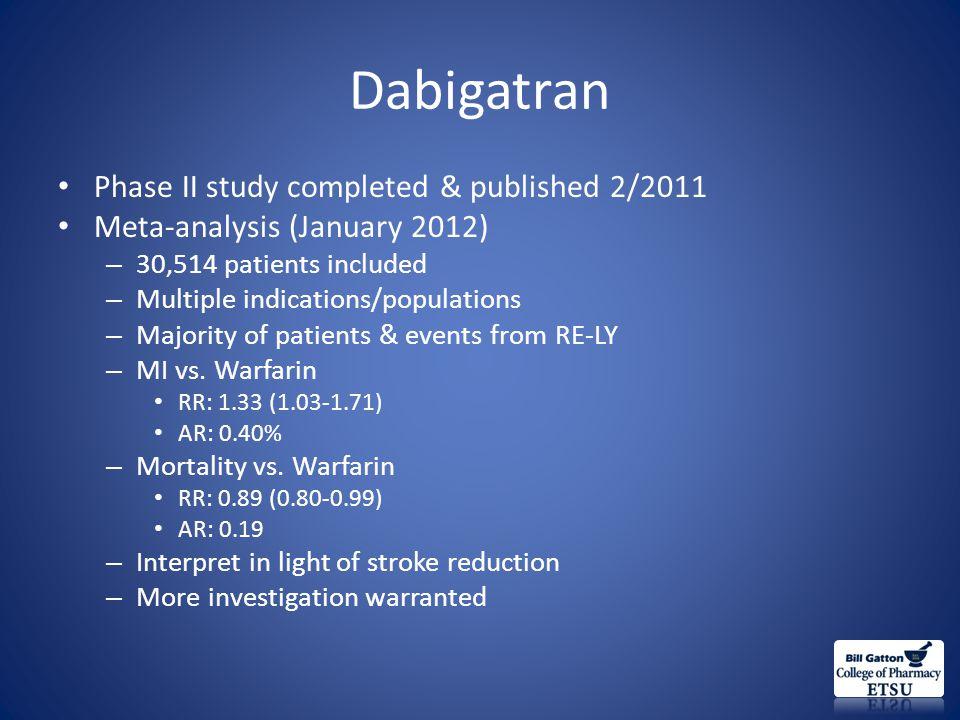 Dabigatran Phase II study completed & published 2/2011 Meta-analysis (January 2012) – 30,514 patients included – Multiple indications/populations – Majority of patients & events from RE-LY – MI vs.