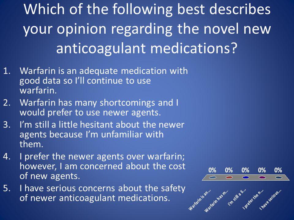 Summary of Afib Data Apixaban (ARISTOTLE) Dabigatran (RE-LY) Rivaroxaban (ROCKET – AF) # Patients> 18,000 > 14,000 Mean CHADS 2 ≈ 2 ≈ 3.5 TTR62%64%55% Efficacy vs.