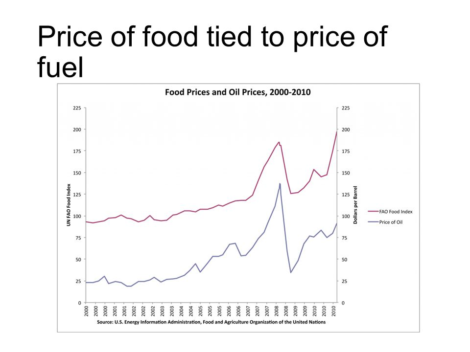 Price of food tied to price of fuel