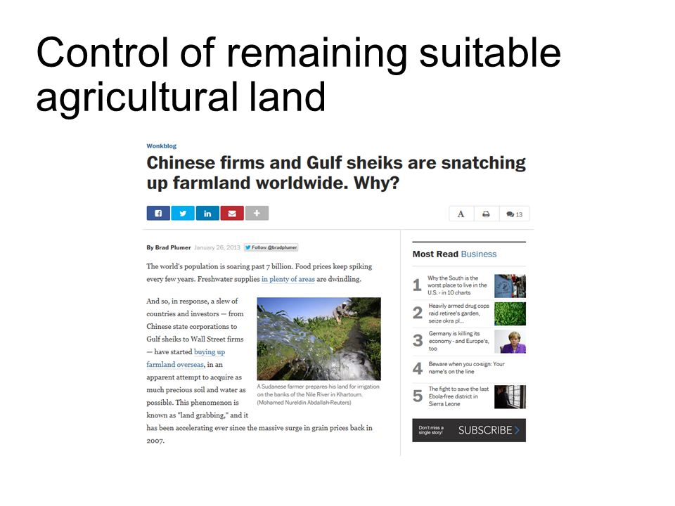 Control of remaining suitable agricultural land