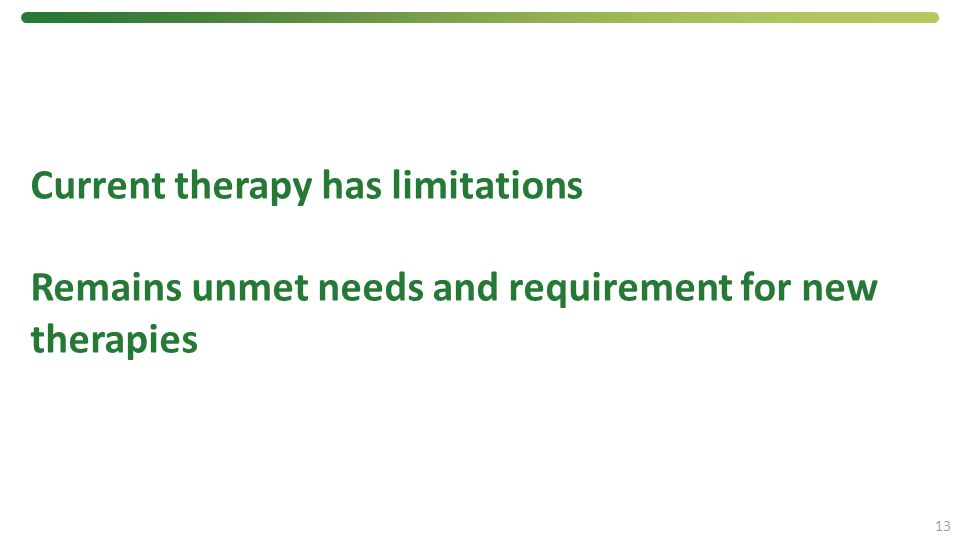 Current therapy has limitations Remains unmet needs and requirement for new therapies 13