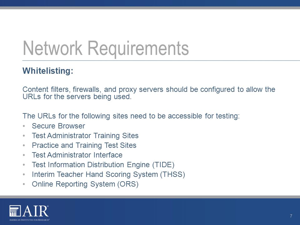 Performance Factors: Bandwidth Number of students simultaneously testing Wireless networking configuration (if used) Secure browser Network Requirements 8