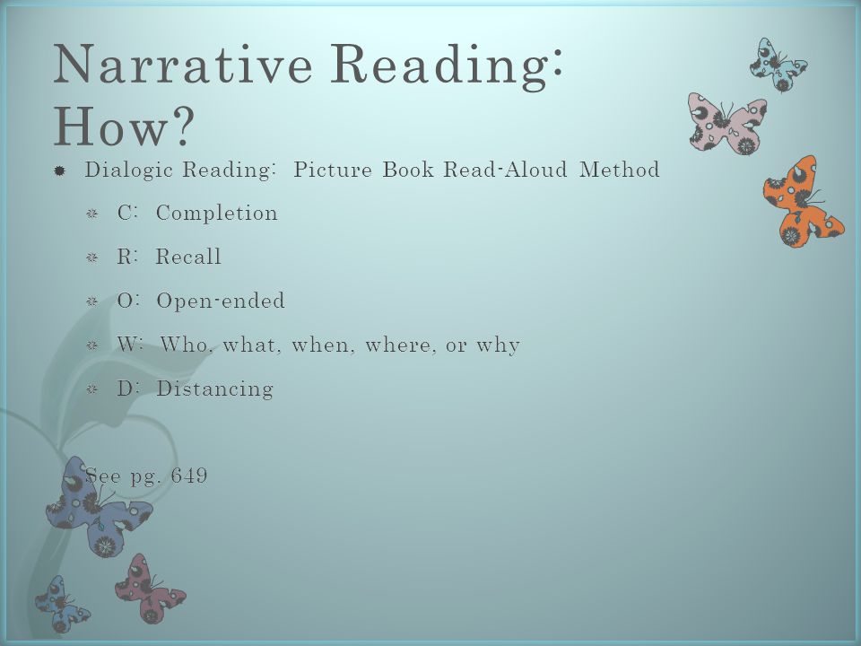 Narrative Reading: How?