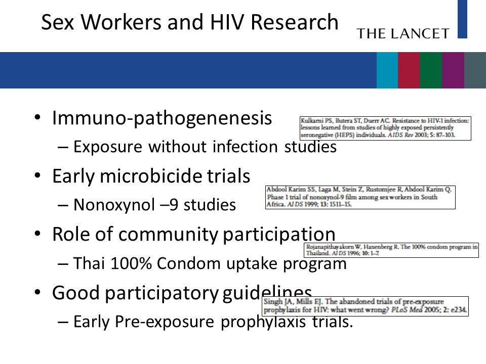 Immuno-pathogenenesis – Exposure without infection studies Early microbicide trials – Nonoxynol –9 studies Role of community participation – Thai 100% Condom uptake program Good participatory guidelines – Early Pre-exposure prophylaxis trials.