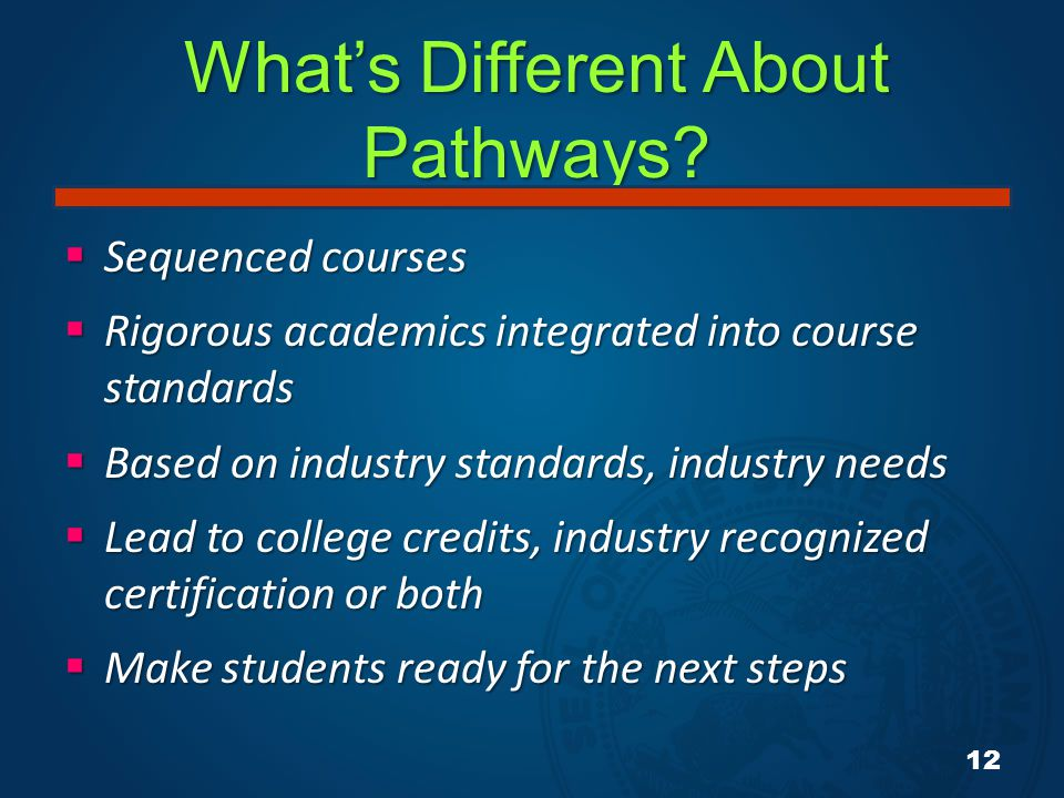 What's Different About Pathways?  Sequenced courses  Rigorous academics integrated into course standards  Based on industry standards, industry nee