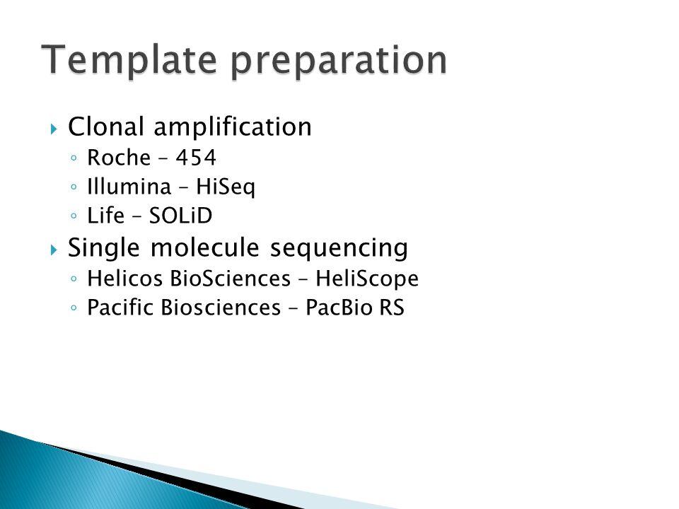  Clonal amplification ◦ Roche – 454 ◦ Illumina – HiSeq ◦ Life – SOLiD  Single molecule sequencing ◦ Helicos BioSciences – HeliScope ◦ Pacific Biosci