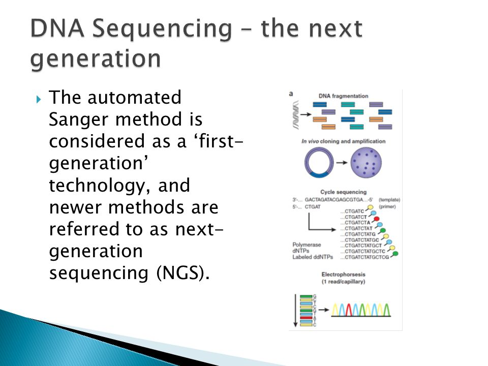  The automated Sanger method is considered as a 'first- generation' technology, and newer methods are referred to as next- generation sequencing (NGS).
