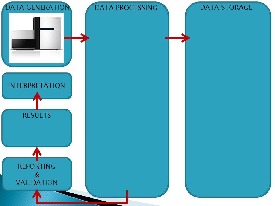 DATA STORAGE DATA GENERATION DATA PROCESSING REPORTING & VALIDATION RESULTS INTERPRETATION
