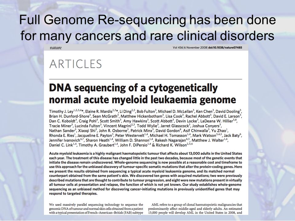 Full Genome Re-sequencing has been done for many cancers and rare clinical disorders