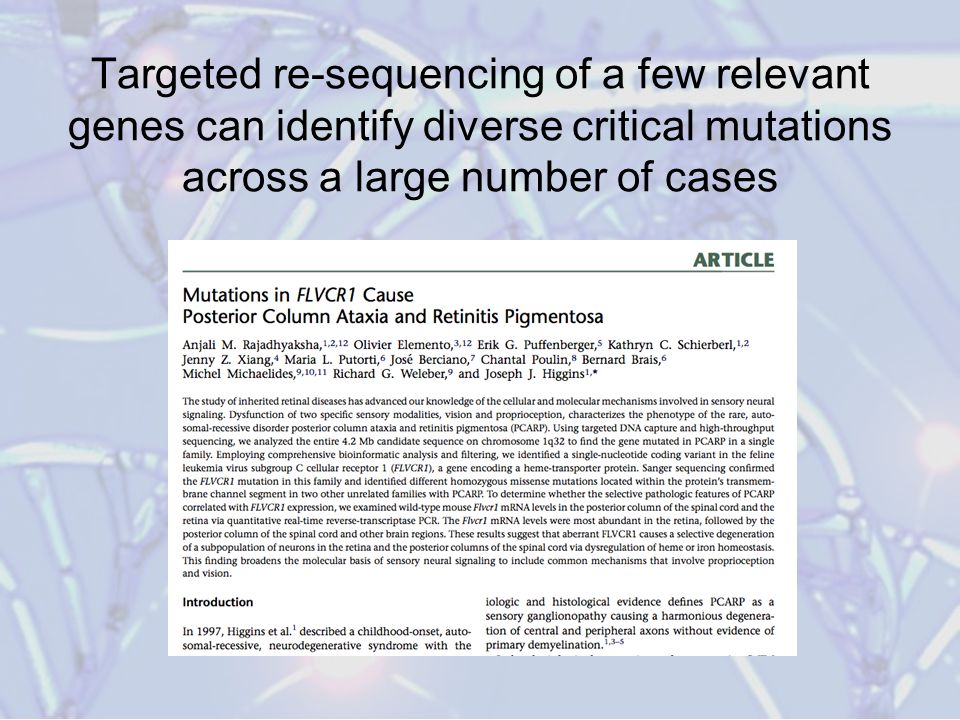 Targeted re-sequencing of a few relevant genes can identify diverse critical mutations across a large number of cases