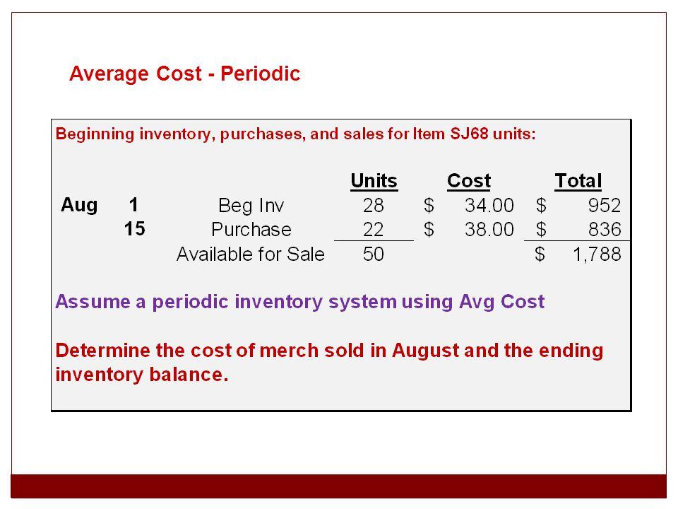 Average Cost - Periodic
