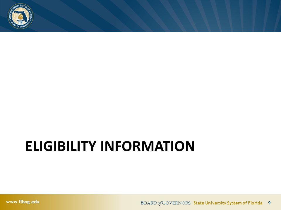 www.flbog.edu B OARD of G OVERNORS State University System of Florida 9 ELIGIBILITY INFORMATION