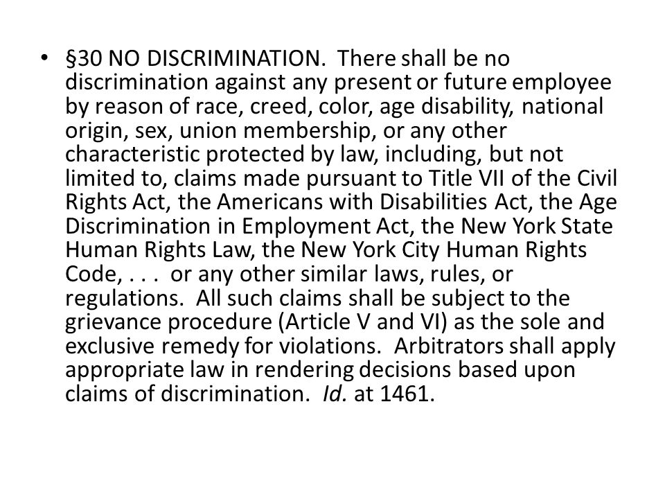 §30 NO DISCRIMINATION.