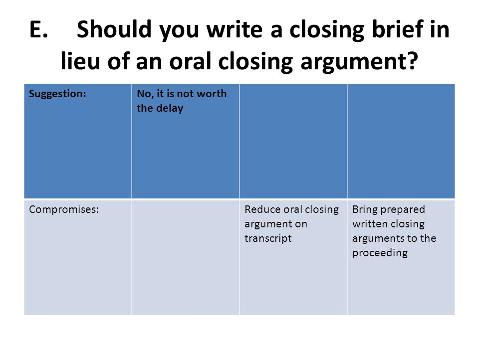 E.Should you write a closing brief in lieu of an oral closing argument.