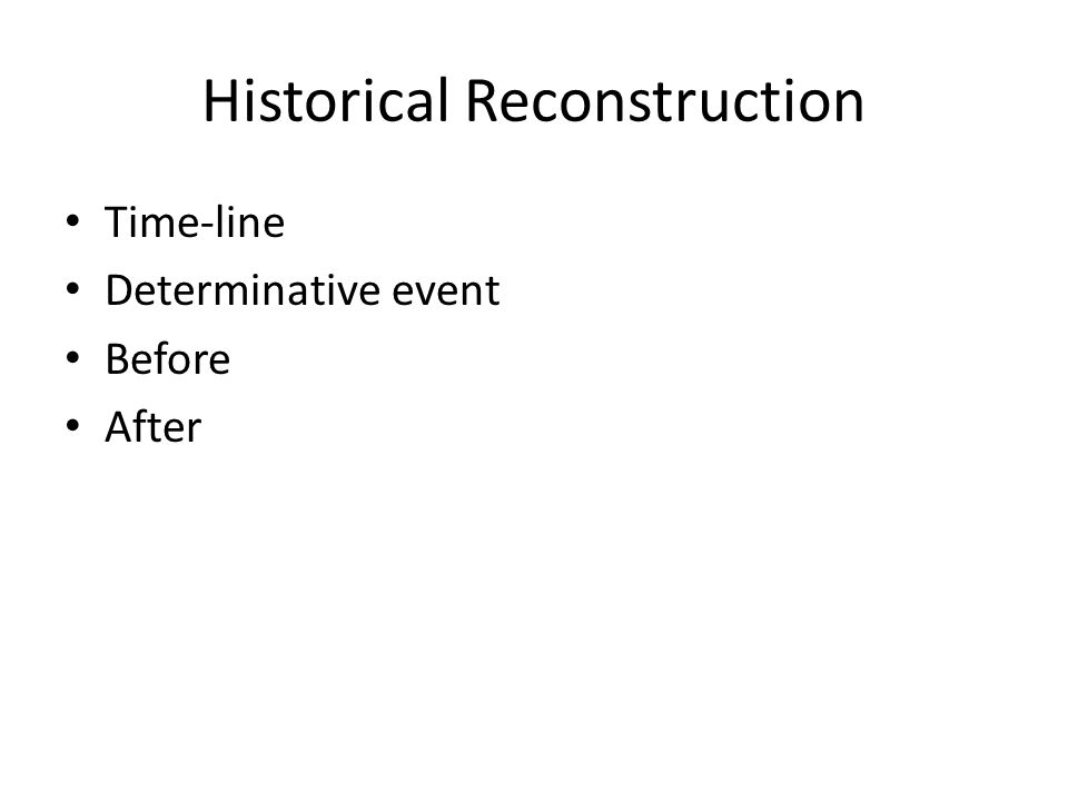 Historical Reconstruction Time-line Determinative event Before After