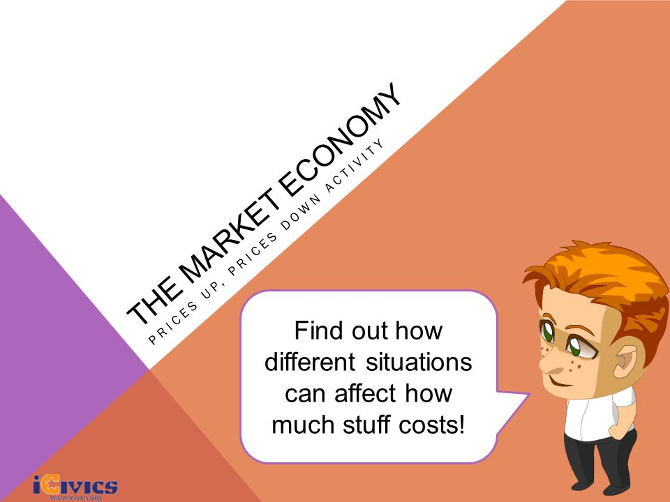 THE MARKET ECONOMY PRICES UP, PRICES DOWN ACTIVITY Find out how different situations can affect how much stuff costs!
